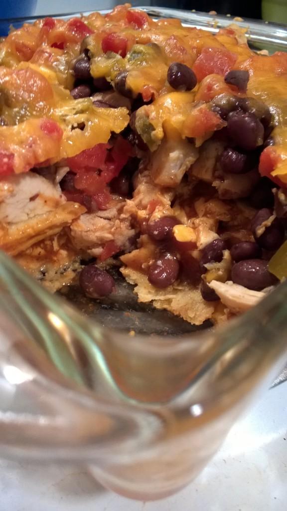 black bean & chicken enchilada casserole