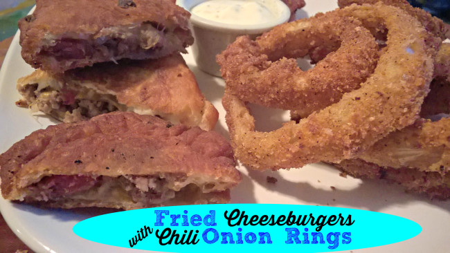 fried cheeseburgers with chili onion rings