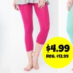 Jane: Women's Seamless Capri Leggings only $4.99!