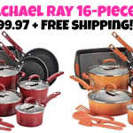 5/26 only!  Rachael Ray 16-Piece Cookware Set (orange or red) only $99.97 + FREE Ship! Reg. $260