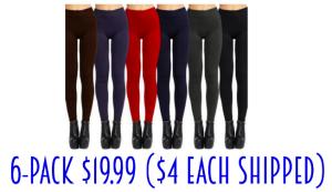 6-pack fleece lined leggings only $19.99