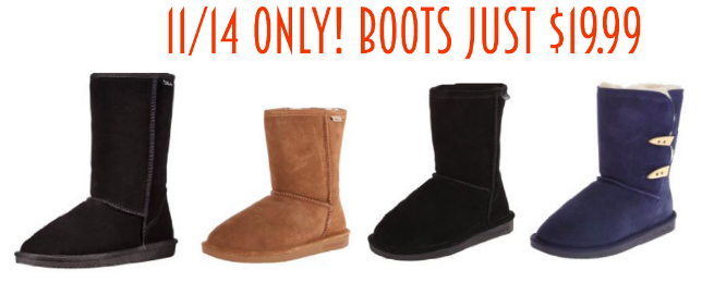 Bearpaw & Willowbee Women's Cozy Boots only $19.99