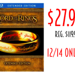 12/14 only! Lord of The Rings Blu-Ray Extended Edition only $27.99! Regularly $119.98!
