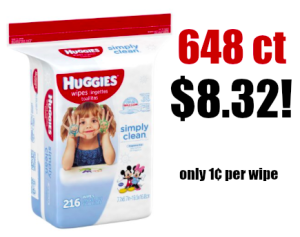 648 ct Huggies Simply Clean Baby Wipes only $8.32 Shipped! 1¢ per Wipe!