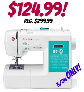 Singer 100-Stitch Computerized Sewing Machine only $124.99! Reg. $299.99 (3/24 only)
