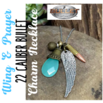 Bullet Designs Wing & Prayer 22 Caliber Bullet Charm Necklace
