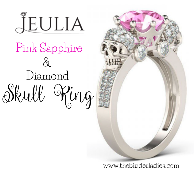Jeulia Reviews: pink sapphire and diamond skull ring