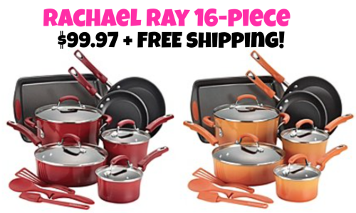 Rachael Ray 16 piece cookware set only $99.97