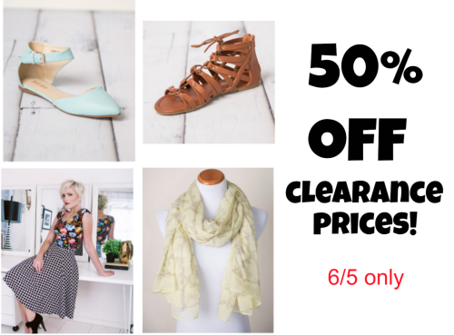 50% off clearance styles