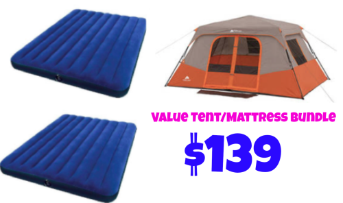 Camping Tent + Air Mattress Bundle only $139!