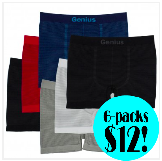 6-pack Men's Boxer Briefs only $12 + free shipping!