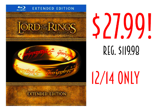 Lord of The Rings Blu-Ray Collection only $27.99 (reg. $119.98)