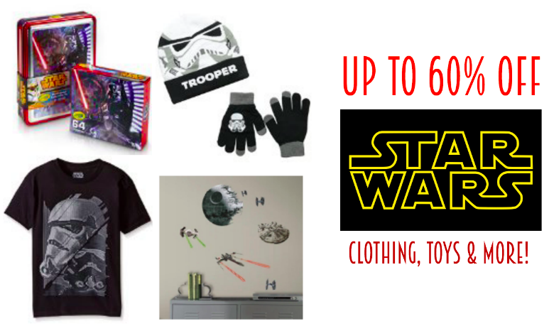 up to 60% off Star Wars clothing, toys and more