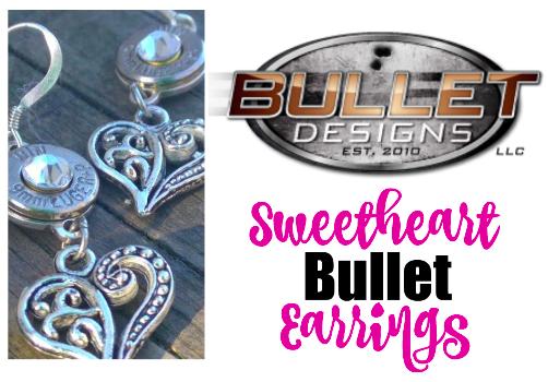 Bullet Designs Sweetheart Bullet Earrings