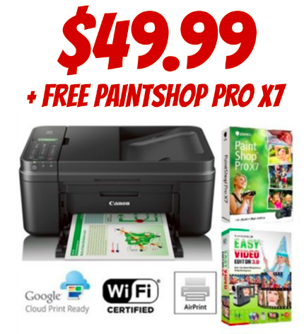 Canon Pixma Wireless All-in-One Printer with PaintShop Pro X7 only $49.99
