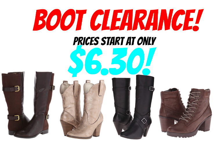 Boot clearance! Prices starting at only $6.30 for Muk Luks, Dirty Laundry, Rampage and more! Prices start at $6.30!