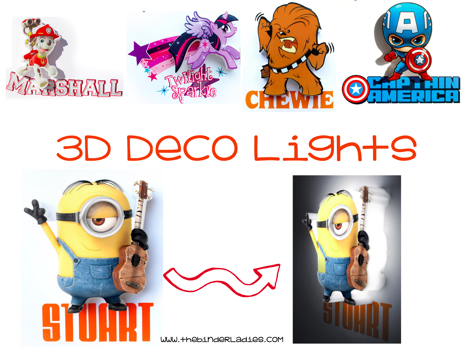 3D Mini Deco Lights - Favorite Characters Light Up The Room!