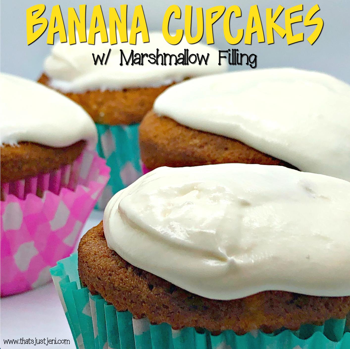 Banana Cupcakes with Marshmallow Filling Recipe