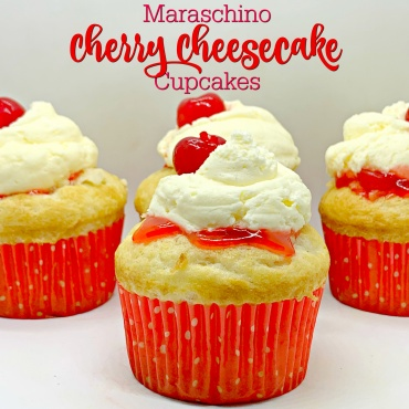 Maraschino Cherry Cheesecake Cupcakes